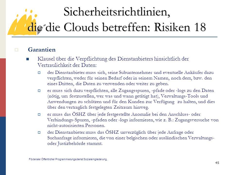 Sicherheitsrichtlinien, die die Clouds betreffen: Risiken 18