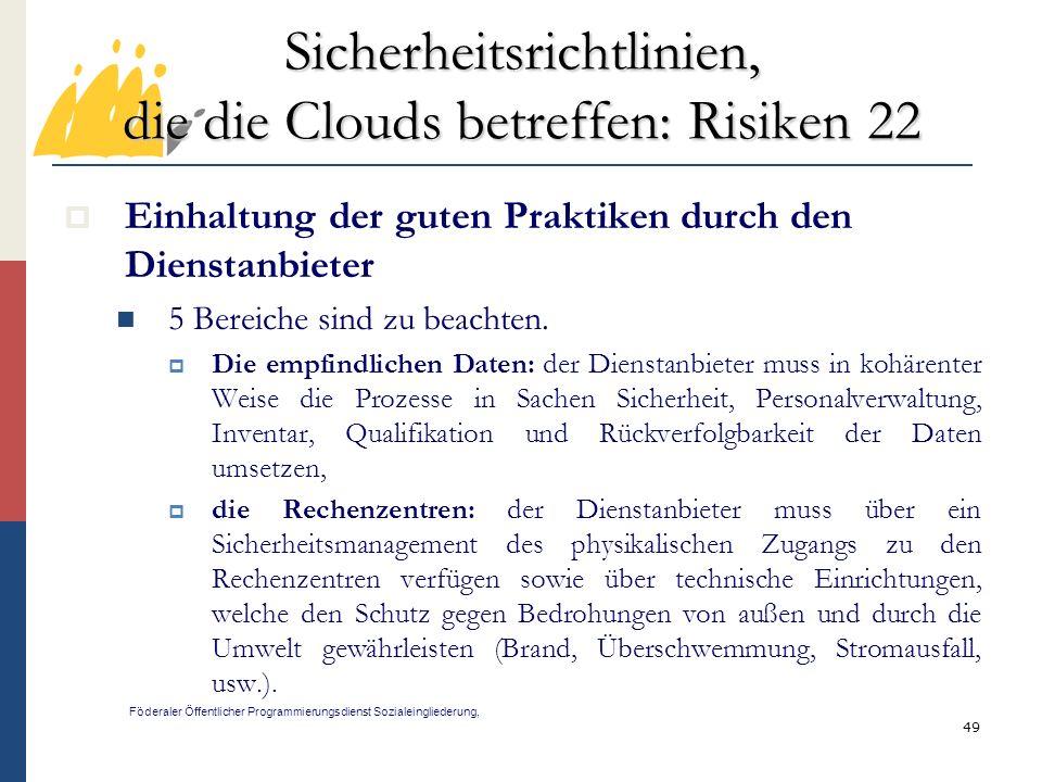 Sicherheitsrichtlinien, die die Clouds betreffen: Risiken 22