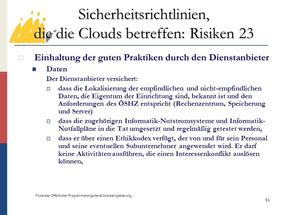 Sicherheitsrichtlinien, die die Clouds betreffen: Risiken 23
