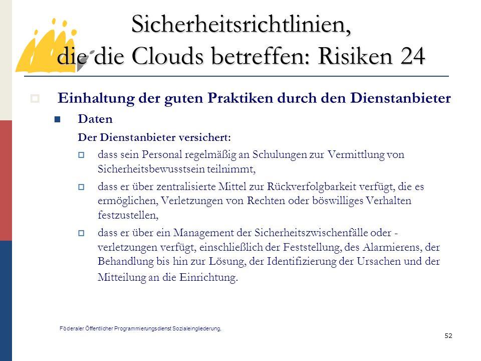 Sicherheitsrichtlinien, die die Clouds betreffen: Risiken 24