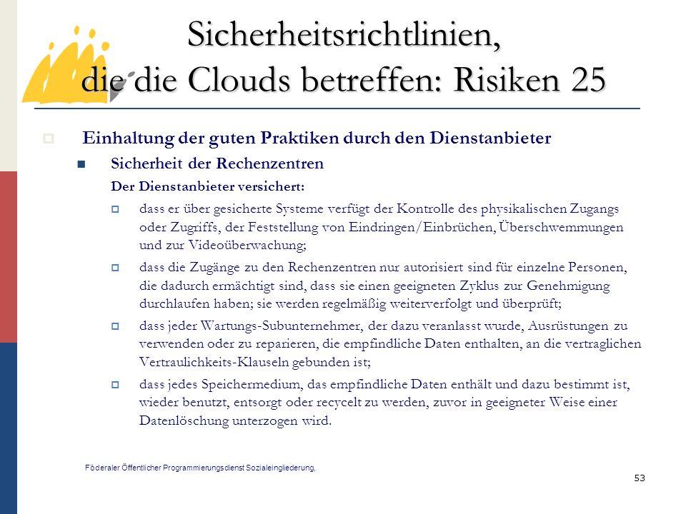 Sicherheitsrichtlinien, die die Clouds betreffen: Risiken 25
