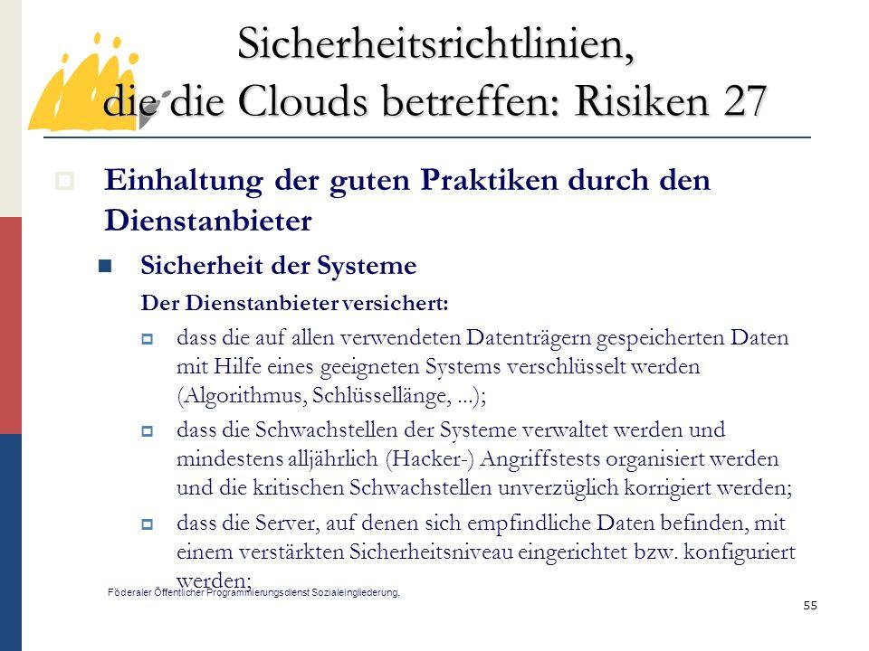 Sicherheitsrichtlinien, die die Clouds betreffen: Risiken 27