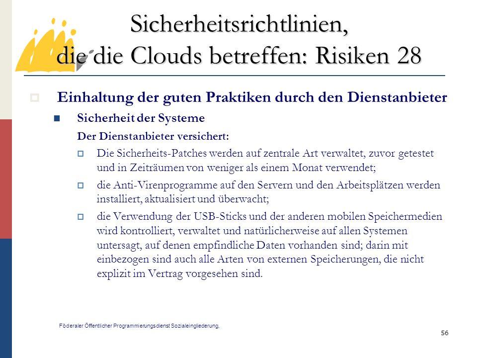 Sicherheitsrichtlinien, die die Clouds betreffen: Risiken 28