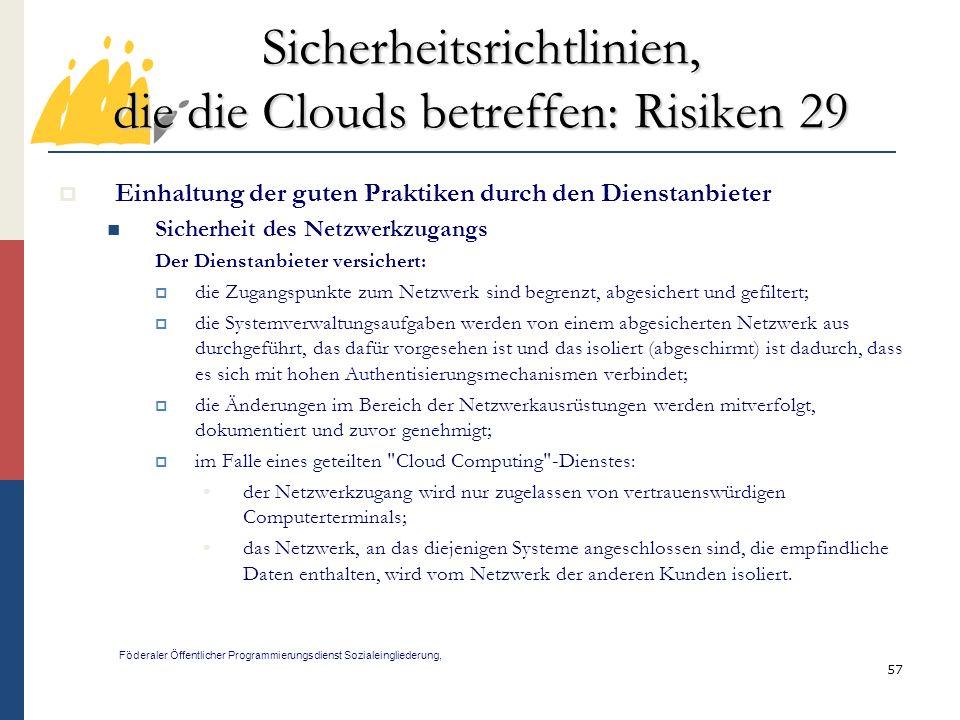 Sicherheitsrichtlinien, die die Clouds betreffen: Risiken 29