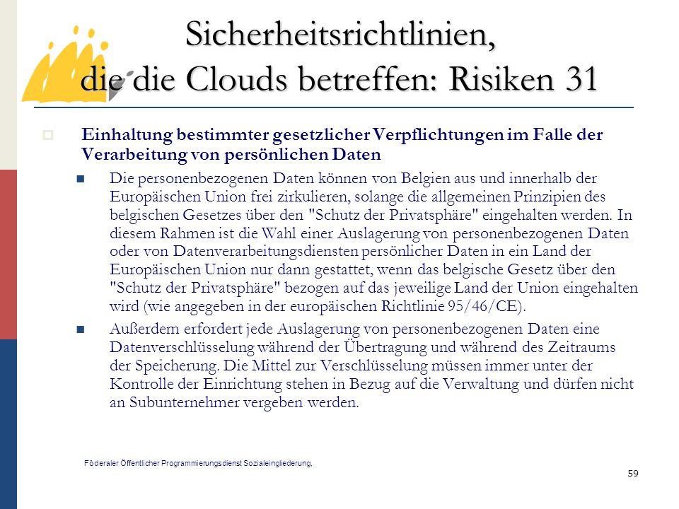 Sicherheitsrichtlinien, die die Clouds betreffen: Risiken 31