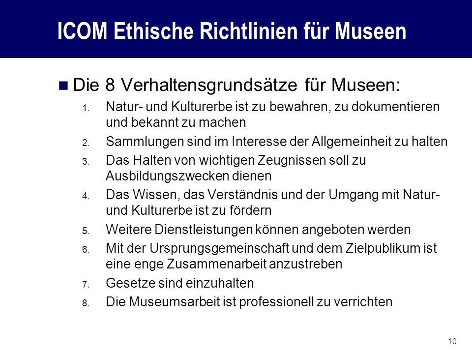 ICOM Ethische Richtlinien für Museen