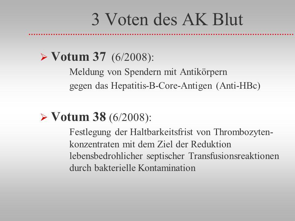 3 Voten des AK Blut Votum 37 (6/2008): Meldung von Spendern mit Antikörpern gegen das Hepatitis-B-Core-Antigen (Anti-HBc)