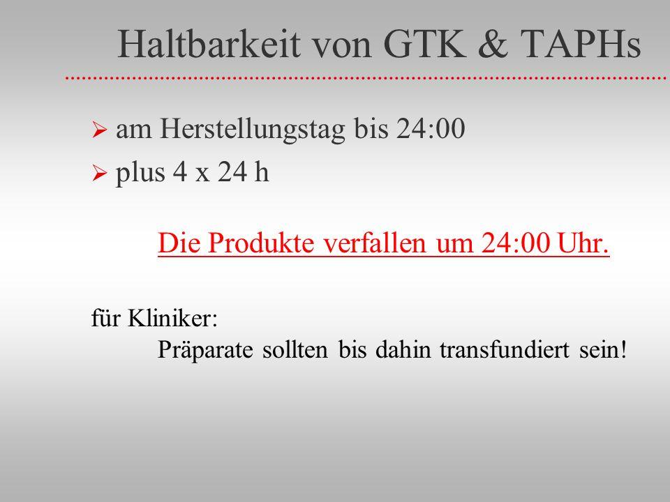 Haltbarkeit von GTK & TAPHs