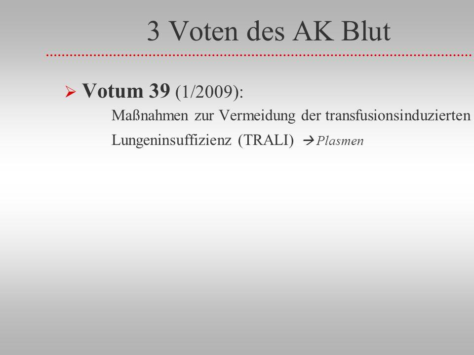 3 Voten des AK Blut Votum 39 (1/2009): Maßnahmen zur Vermeidung der transfusionsinduzierten Lungeninsuffizienz (TRALI)  Plasmen.