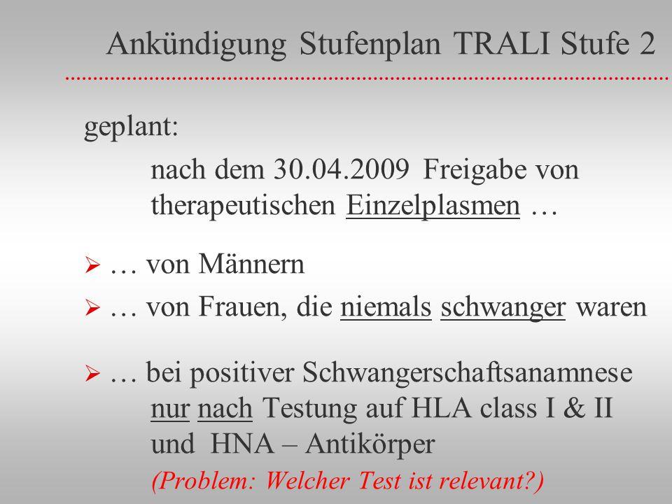Ankündigung Stufenplan TRALI Stufe 2