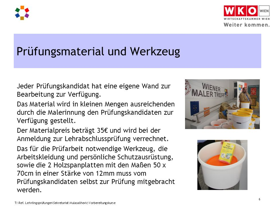 Prüfungsmaterial und Werkzeug