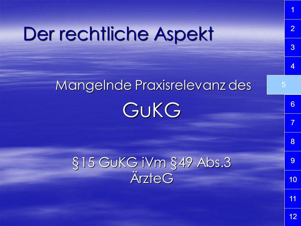Mangelnde Praxisrelevanz des GuKG §15 GuKG iVm §49 Abs.3 ÄrzteG