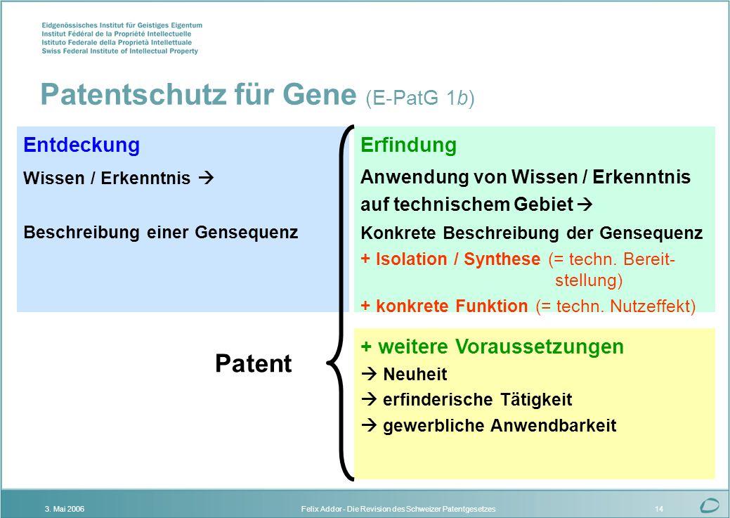 Patentschutz für Gene (E-PatG 1b)