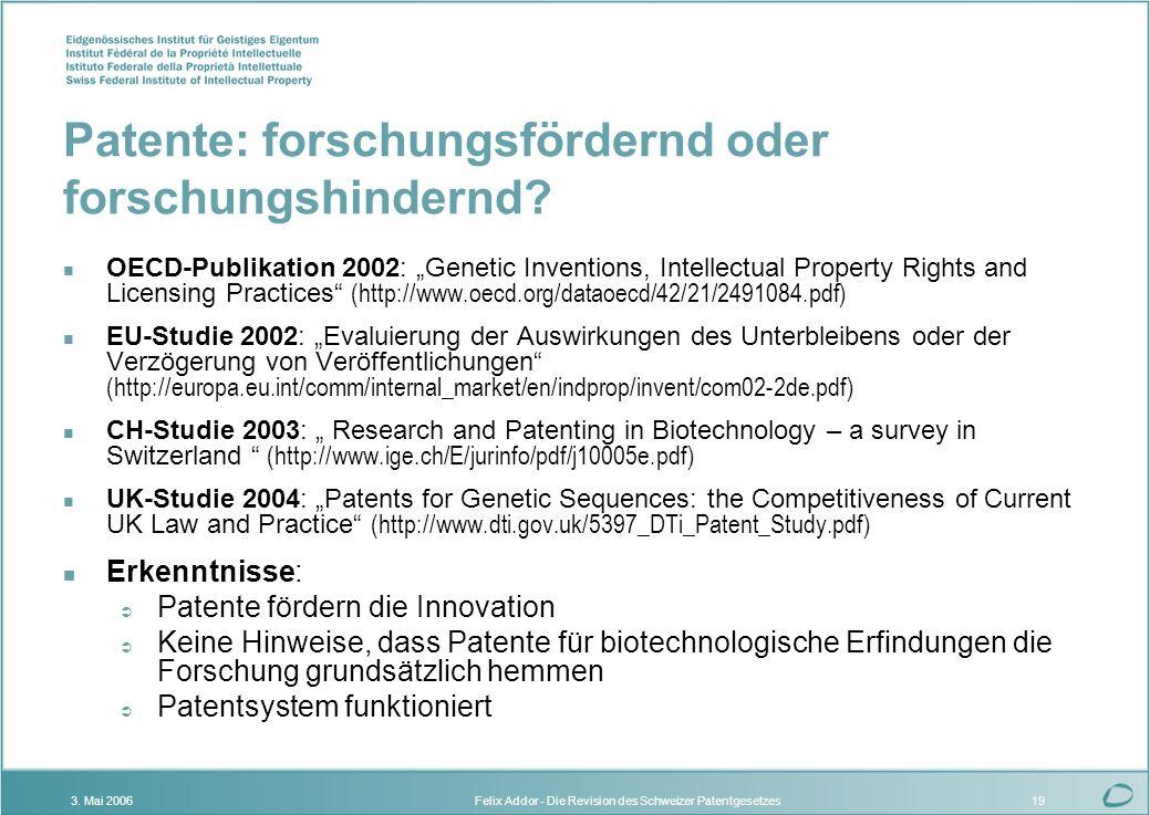 Patente: forschungsfördernd oder forschungshindernd