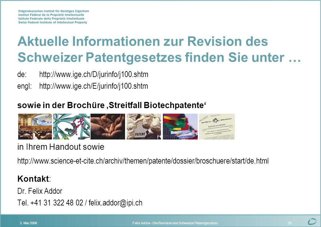 Felix Addor - Die Revision des Schweizer Patentgesetzes