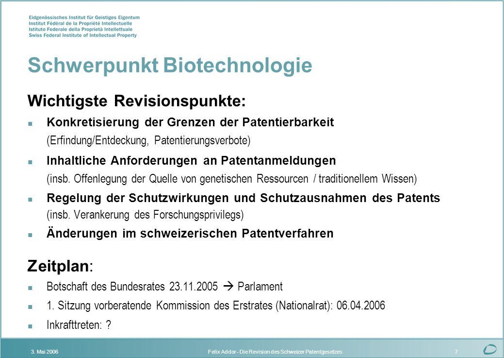 Schwerpunkt Biotechnologie