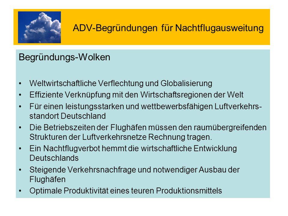 ADV-Begründungen für Nachtflugausweitung