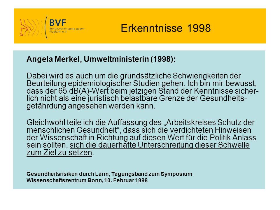 Erkenntnisse 1998 Angela Merkel, Umweltministerin (1998):