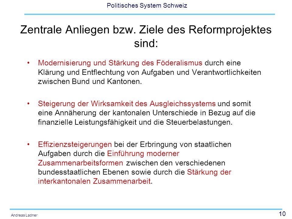 Zentrale Anliegen bzw. Ziele des Reformprojektes sind: