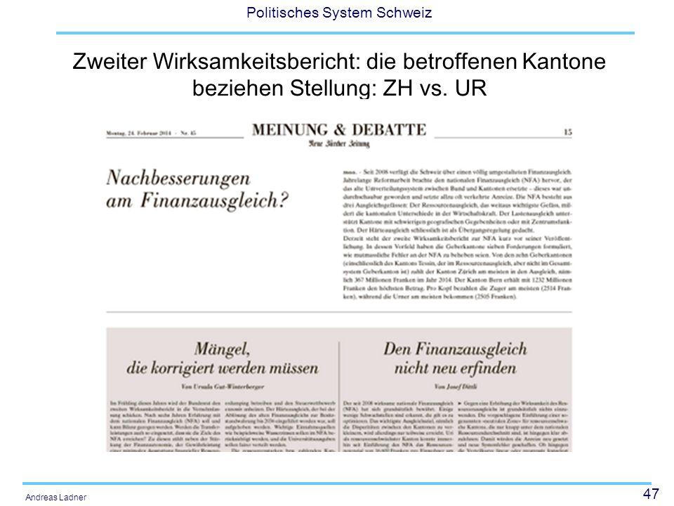 Zweiter Wirksamkeitsbericht: die betroffenen Kantone beziehen Stellung: ZH vs. UR