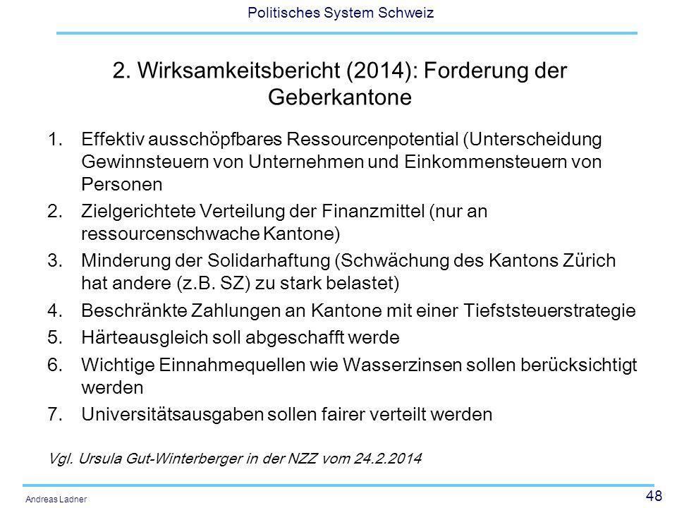 2. Wirksamkeitsbericht (2014): Forderung der Geberkantone