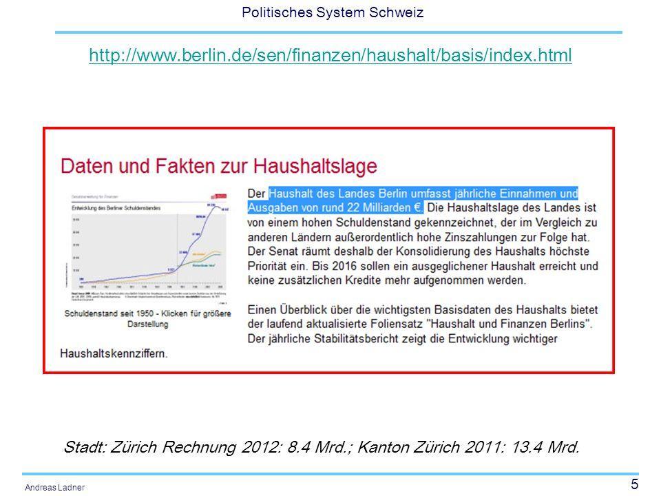 http://www.berlin.de/sen/finanzen/haushalt/basis/index.html Stadt: Zürich Rechnung 2012: 8.4 Mrd.; Kanton Zürich 2011: 13.4 Mrd.