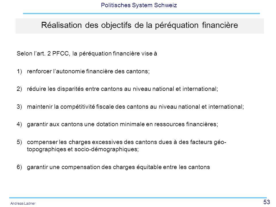 Réalisation des objectifs de la péréquation financière