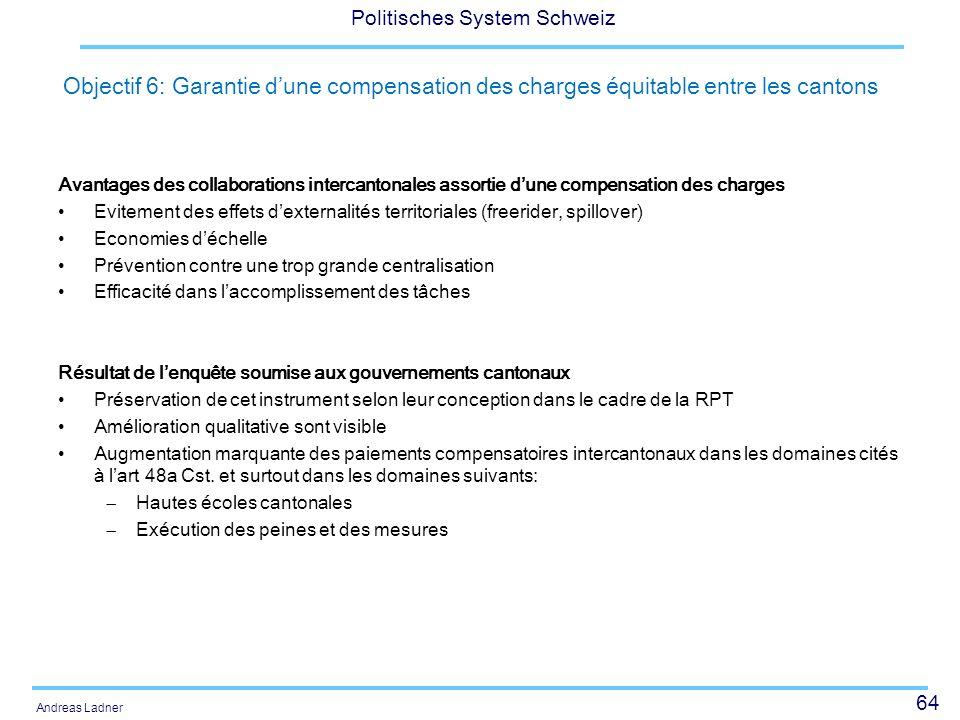 Objectif 6: Garantie d'une compensation des charges équitable entre les cantons