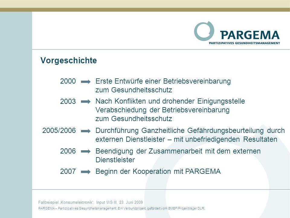 Vorgeschichte 2000. Erste Entwürfe einer Betriebsvereinbarung zum Gesundheitsschutz. 2003.