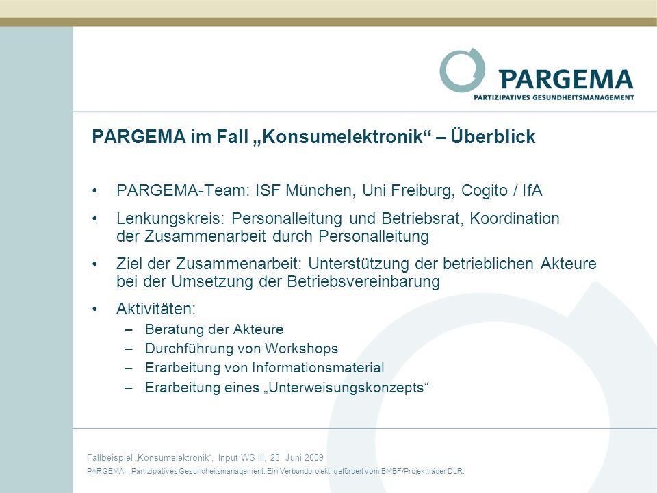 "PARGEMA im Fall ""Konsumelektronik – Überblick"