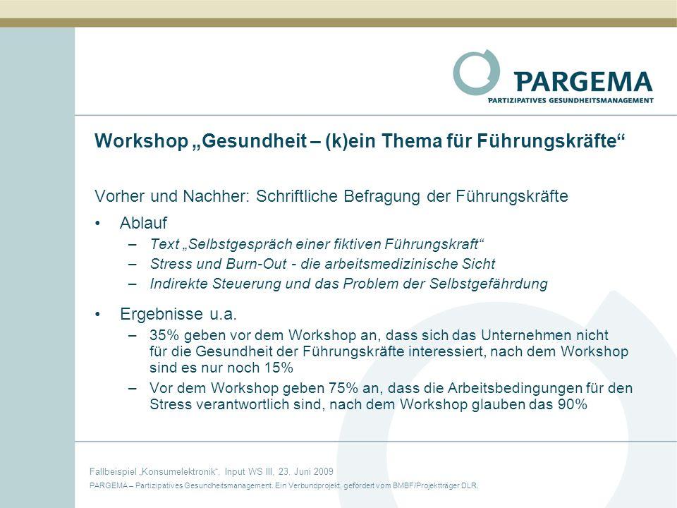 """Workshop """"Gesundheit – (k)ein Thema für Führungskräfte"""