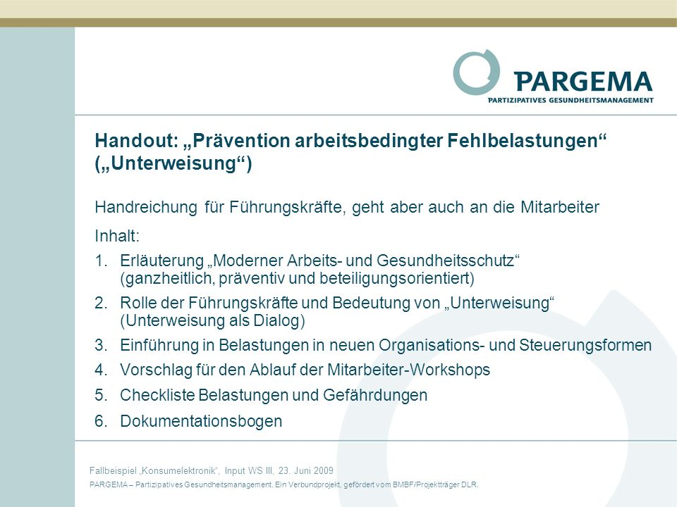 """Handout: """"Prävention arbeitsbedingter Fehlbelastungen (""""Unterweisung )"""