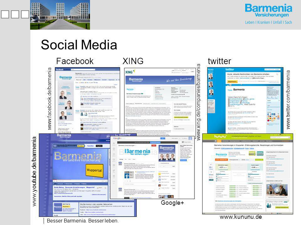 Social Media Facebook XING twitter www.youtube.de/barmenia Google+