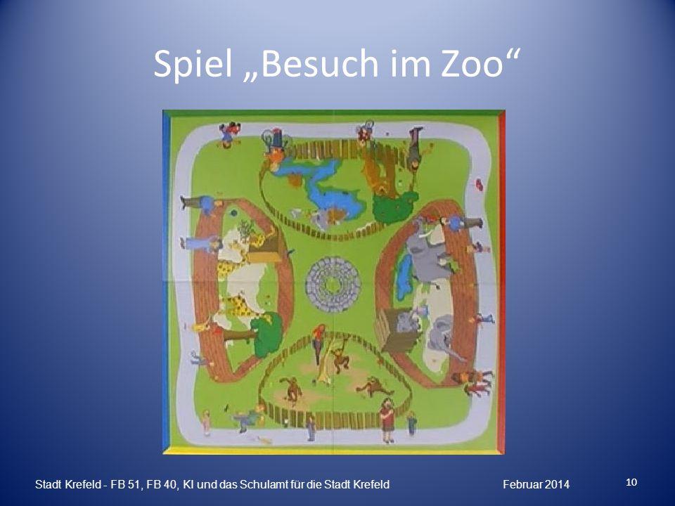 """Spiel """"Besuch im Zoo Stadt Krefeld - FB 51, FB 40, KI und das Schulamt für die Stadt Krefeld Februar 2014."""