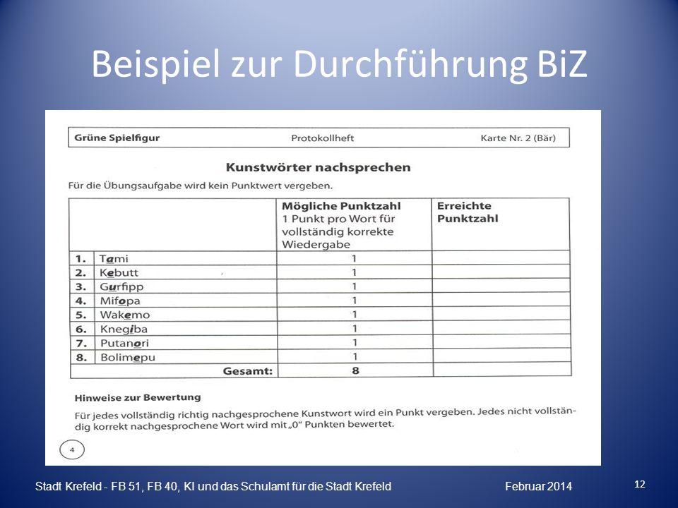 Beispiel zur Durchführung BiZ