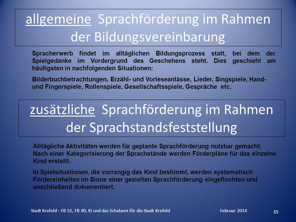 allgemeine Sprachförderung im Rahmen der Bildungsvereinbarung