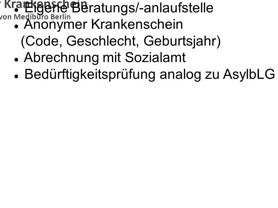 Anonymer Krankenschein Konzeption von Medibüro Berlin