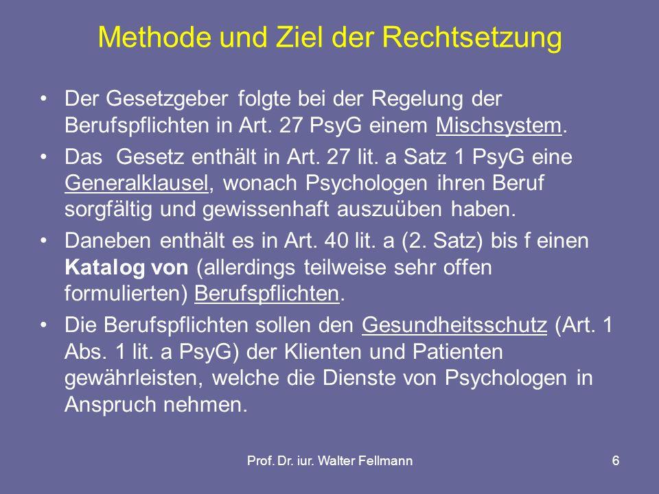 Methode und Ziel der Rechtsetzung
