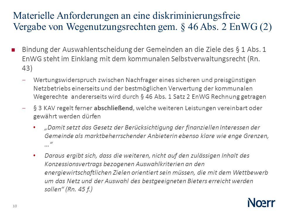 Date Materielle Anforderungen an eine diskriminierungsfreie Vergabe von Wegenutzungsrechten gem. § 46 Abs. 2 EnWG (2)