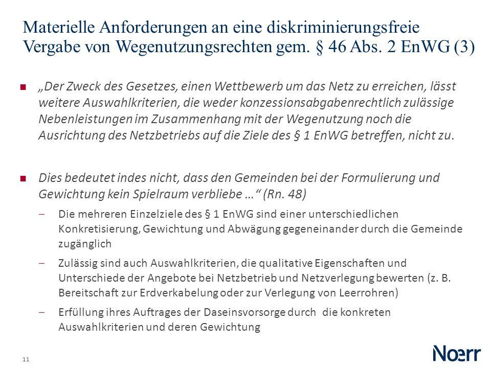 Date Materielle Anforderungen an eine diskriminierungsfreie Vergabe von Wegenutzungsrechten gem. § 46 Abs. 2 EnWG (3)