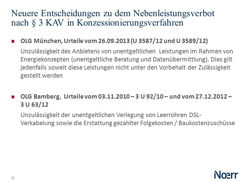 Date Neuere Entscheidungen zu dem Nebenleistungsverbot nach § 3 KAV in Konzessionierungsverfahren.