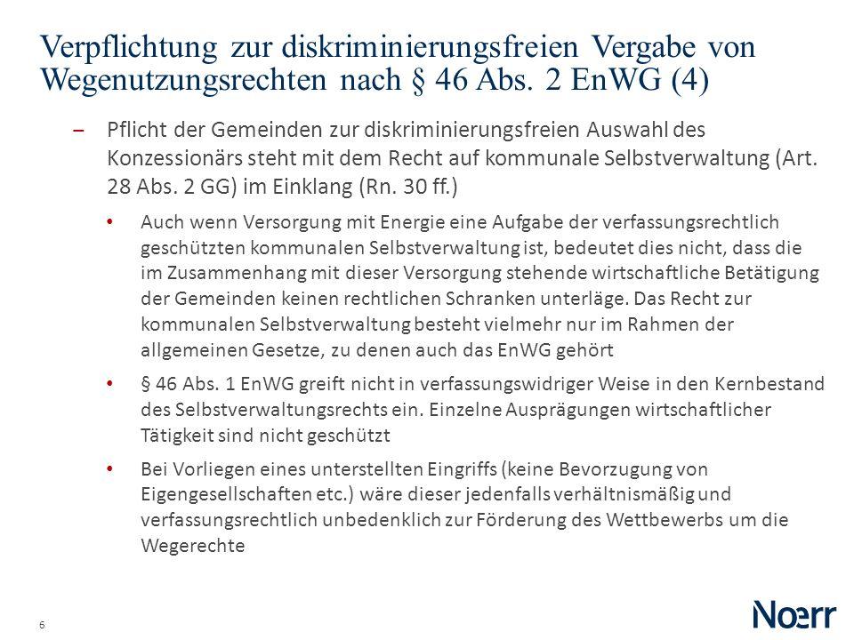 Date Verpflichtung zur diskriminierungsfreien Vergabe von Wegenutzungsrechten nach § 46 Abs. 2 EnWG (4)