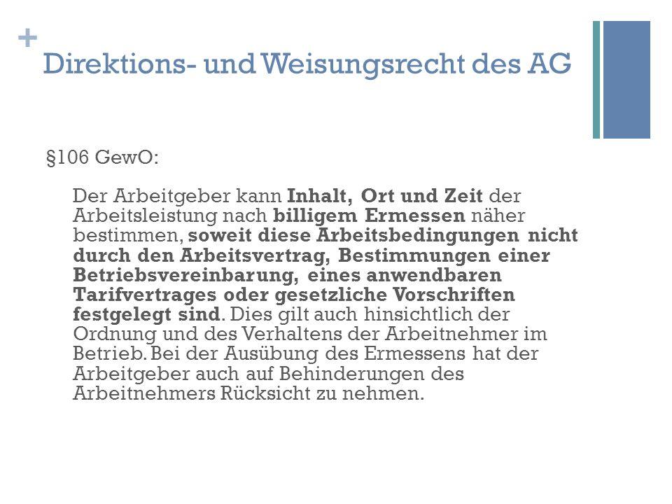 Direktions- und Weisungsrecht des AG