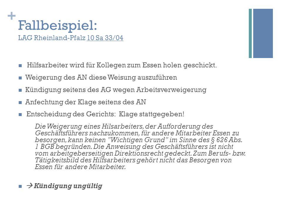 Fallbeispiel: LAG Rheinland-Pfalz 10 Sa 33/04