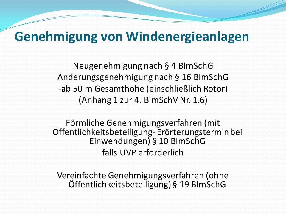 Genehmigung von Windenergieanlagen