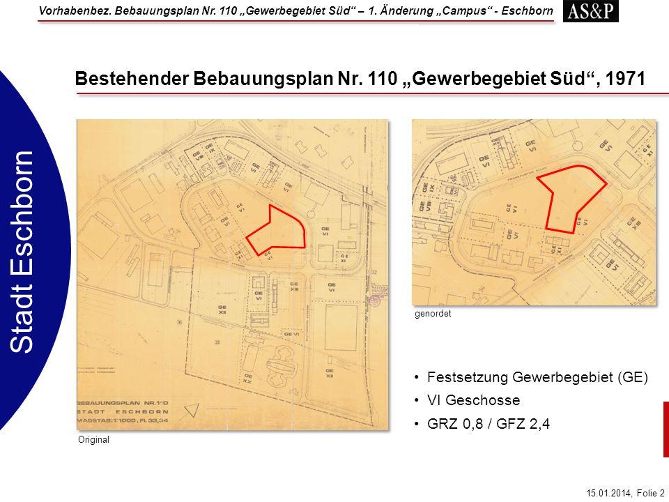 """Bestehender Bebauungsplan Nr. 110 """"Gewerbegebiet Süd , 1971"""