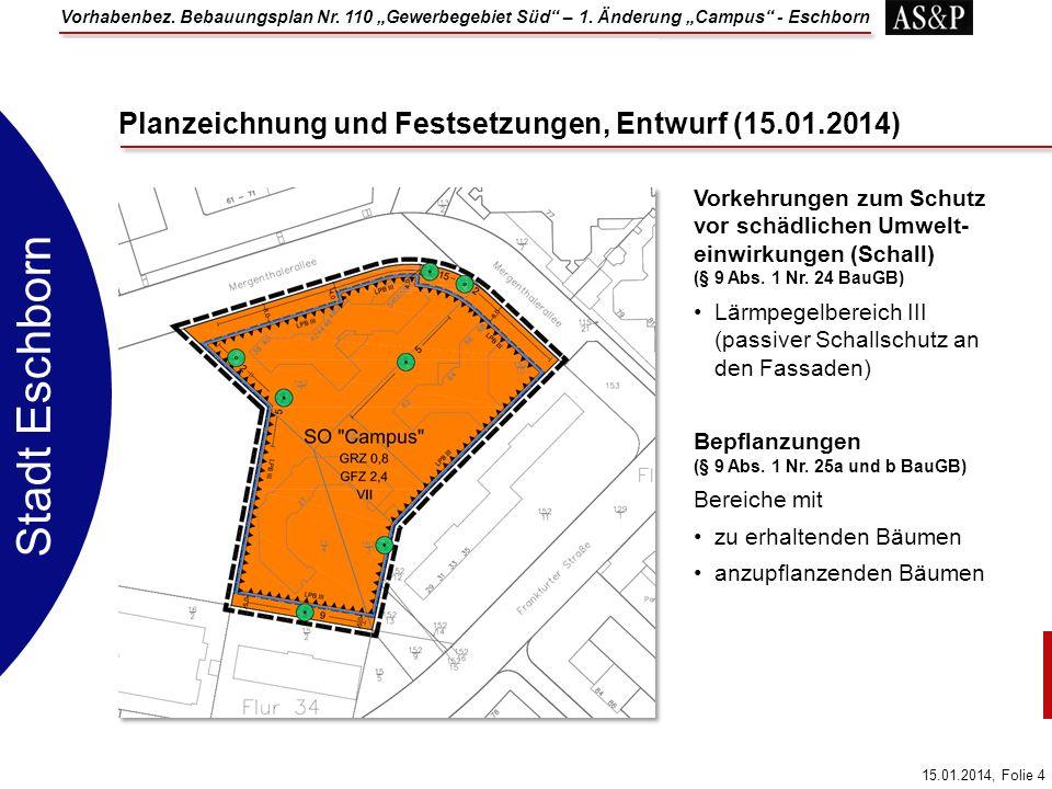 Planzeichnung und Festsetzungen, Entwurf (15.01.2014)