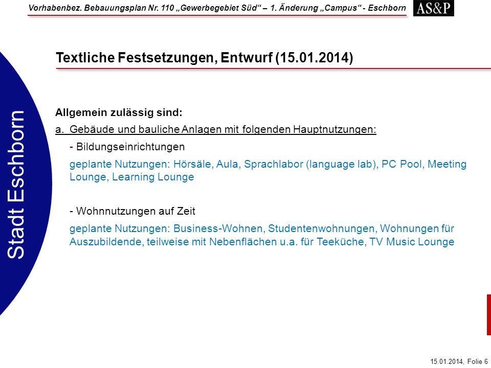 Textliche Festsetzungen, Entwurf (15.01.2014)