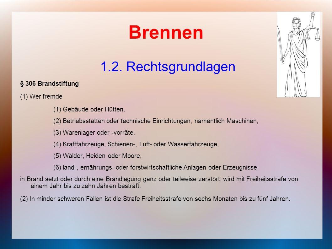 Brennen 1.2. Rechtsgrundlagen § 306 Brandstiftung (1) Wer fremde