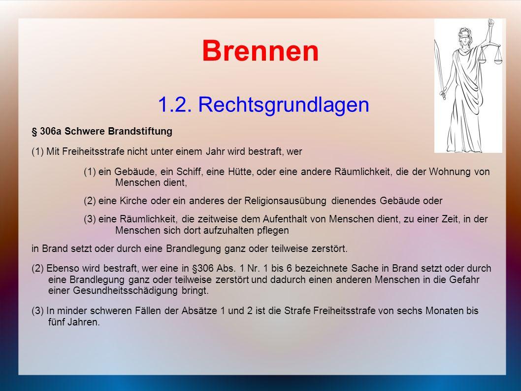 Brennen 1.2. Rechtsgrundlagen § 306a Schwere Brandstiftung